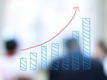 Ιστόγραμμα αύξησης με τους θολωμένους επιχειρηματίες Στοκ Φωτογραφίες