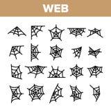 Ιστός αραχνών, διανυσματικά γραμμικά εικονίδια ιστών αράχνης καθορισμένα διανυσματική απεικόνιση