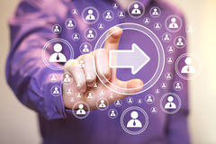 Ιστός επικοινωνίας σύνδεσης εικονιδίων βελών επιχειρησιακών κουμπιών Στοκ εικόνα με δικαίωμα ελεύθερης χρήσης