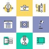 Ιστός και γραφικά εικονίδια εικονογραμμάτων σχεδίου καθορισμένοι Στοκ εικόνες με δικαίωμα ελεύθερης χρήσης