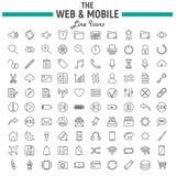 Ιστός και κινητό σύνολο εικονιδίων γραμμών, σύμβολα διεπαφών OS απεικόνιση αποθεμάτων