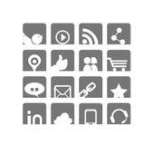 Ιστός & κοινωνικό σύνολο εικονιδίων δικτύων | Άσπρη & γκρίζα σειρά απεικόνιση αποθεμάτων