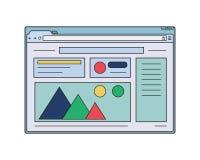 Ιστός wireframe Παράθυρο Διαδικτύου με το πρότυπο σελίδων ιστοχώρου Στοκ Φωτογραφίες