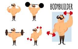 Ισχυρά μυϊκά αθλητικά bodybuilders καθορισμένα ζωηρόχρωμη γραφική απεικόνιση παιδιών χαρακτηρών κινουμένων σχεδίων ελεύθερη απεικόνιση δικαιώματος