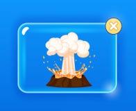 Ισχυρή έκρηξη της λάβας, καυτός ατμός πέρα από το ηφαίστειο ελεύθερη απεικόνιση δικαιώματος