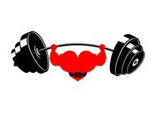 Ισχυρή καρδιά και barbell Ισχυρός αθλητής αγάπης Καρδιο κατάρτιση ελεύθερη απεικόνιση δικαιώματος