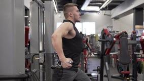 Ισχυρή νέα αρσενική ενήλικη να κάνει άσκηση προσομοιωτών για τους μυς στηθών και ώμων απόθεμα βίντεο