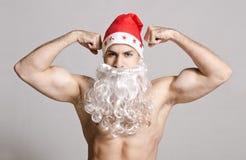 Ισχυρή τοποθέτηση Santa στον πυροβολισμό στούντιο Στοκ εικόνα με δικαίωμα ελεύθερης χρήσης