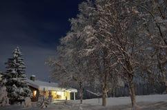 Ισχυρή χιονόπτωση στα δέντρα και σπίτι στη νύχτα Χριστουγέννων Στοκ Εικόνες