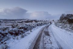 Ισχυρή χιονόπτωση στο σκωτσέζικο Χάιλαντς και ένα μεγάλο μέρος του UK Στοκ φωτογραφίες με δικαίωμα ελεύθερης χρήσης