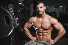Ισχυροί και όμορφοι αθλητικοί ABS και δικέφαλοι μυ'ες μυών νεαρών άνδρων στοκ φωτογραφίες με δικαίωμα ελεύθερης χρήσης