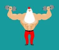 Ισχυρός Άγιος Βασίλης με τον αλτήρα Άτομο ικανότητας Bodybuilder Chris Στοκ Φωτογραφίες