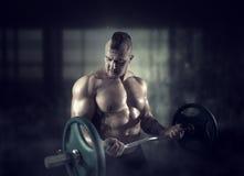 Ισχυρός αθλητής που ανυψώνει το barbell στην αθλητική γυμναστική Στοκ εικόνες με δικαίωμα ελεύθερης χρήσης