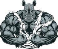 Ισχυρός αθλητής ρινοκέρων διανυσματική απεικόνιση
