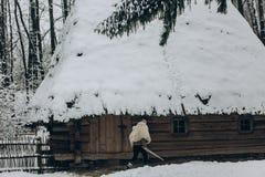 Ισχυρός Βίκινγκ με το δέρμα ξιφών και λύκων που περπατά προς το historica Στοκ Εικόνες