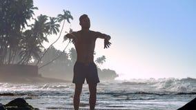 Ισχυρός gymnast τινάζει τα χέρια ενάντια στους φοίνικες silhouetes απόθεμα βίντεο