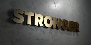 Ισχυρότερος - το χρυσό σημάδι τοποθέτησε στο στιλπνό μαρμάρινο τοίχο - τρισδιάστατο δικαίωμα ελεύθερη απεικόνιση αποθεμάτων Στοκ φωτογραφίες με δικαίωμα ελεύθερης χρήσης