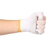 Ισχυρό αρσενικό γάντι χεριών εργαζομένων που σφίγγει την πυγμή. Στοκ Φωτογραφίες