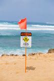 Ισχυρό τρέχον προειδοποιητικό σημάδι Oahu Χαβάη Στοκ Εικόνα