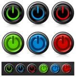ισχύς εικονιδίων κουμπιώ& Στοκ Εικόνες