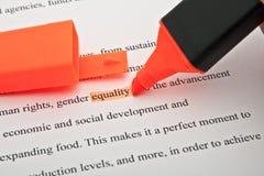 Ισότητα που τονίζεται Στοκ εικόνες με δικαίωμα ελεύθερης χρήσης