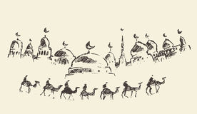 Ισλαμικές ιερές καμήλες μουσουλμανικών τεμενών Ramadan Kareem που σύρονται Στοκ Εικόνα