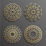 Ισλαμικό διανυσματικό, περσικό motiff διακοσμήσεων τρισδιάστατα ramadan στρογγυλά στοιχεία σχεδίων Γεωμετρικό σύνολο προτύπων λογ ελεύθερη απεικόνιση δικαιώματος