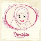 Ισλαμικό κορίτσι για τον ιερό εορτασμό Ramadan Kareem μήνα Στοκ Φωτογραφίες