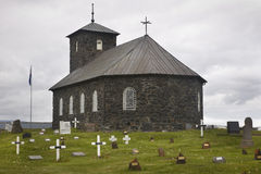 Ισλανδία Εκκλησία και νεκροταφείο Pingeyrar Λίμνη λυκίσκου Blonduos Στοκ φωτογραφίες με δικαίωμα ελεύθερης χρήσης