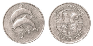 ισλανδικό νόμισμα κορωνών 5 Στοκ εικόνα με δικαίωμα ελεύθερης χρήσης