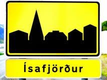 Ισλανδικό πόλης σημάδι Στοκ φωτογραφία με δικαίωμα ελεύθερης χρήσης