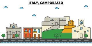 Ιταλία, Καμπομπάσσο Αρχιτεκτονική οριζόντων πόλεων editable Στοκ Φωτογραφίες