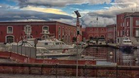 Ιταλία, Νάπολη, λιμένας 02.01.2018 της Νάπολης, Ιταλία στην Ευρώπη με Στοκ Εικόνες