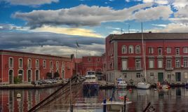 Ιταλία, Νάπολη, λιμένας 02.01.2018 της Νάπολης, Ιταλία στην Ευρώπη με Στοκ εικόνες με δικαίωμα ελεύθερης χρήσης