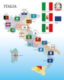 Ιταλία, περιφερειακοί σημαίες και χάρτης απεικόνιση αποθεμάτων