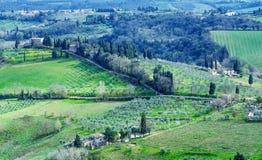 Ιταλία Τοσκάνη Θαυμάσια εκστρατεία της επαρχίας περιοχών σε Spri στοκ φωτογραφία