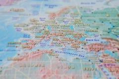 Ιταλία, Frace και Πορτογαλία στενό σε επάνω στο χάρτη Εστίαση στο όνομα της χώρας Vignetting επίδραση απεικόνιση αποθεμάτων