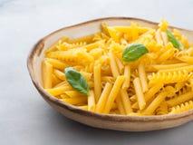 Ιταλικά ακατέργαστα κοντά ζυμαρικά σε ένα πιάτο Στοκ Εικόνα