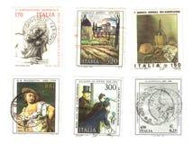 ιταλικά παλαιά έξι γραμματόσημα Στοκ Εικόνες