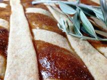 Ιταλικά παραδοσιακά τρόφιμα αποκαλούμενα pastiera στο υπόβαθρο θαμπάδων στοκ εικόνες