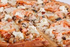 Ιταλική έννοια κουζινών και μαγειρέματος Καυτός νόστιμος που τεμαχίζεται με το σολομό, χέλι, θαλασσινά, ντομάτα Φάτε την έννοια π στοκ φωτογραφίες με δικαίωμα ελεύθερης χρήσης