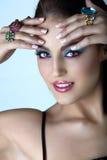 Ιταλική γυναίκα με τη σύνθεση μόδας. Στοκ Φωτογραφίες