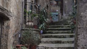 Ιταλική είσοδος με τα δοχεία κλιμακοστάσιων και λουλουδιών πετρών απόθεμα βίντεο