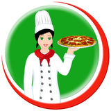 ιταλική πίτσα αρχιμαγείρω& Στοκ Φωτογραφία