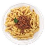 ιταλική σάλτσα ζυμαρικών κρέατος fusilli Στοκ εικόνα με δικαίωμα ελεύθερης χρήσης