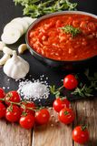 Ιταλική σάλτσα pizzaiola με τις ντομάτες, oregano, τα κρεμμύδια και το garli Στοκ Φωτογραφίες