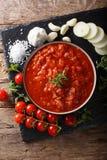 Ιταλική σάλτσα pizzaiola με τις ντομάτες, oregano, τα κρεμμύδια και το garli Στοκ Εικόνες