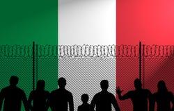 Ιταλική σημαία πίσω από τον ασφαλή φράκτη διανυσματική απεικόνιση