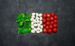 Ιταλική σημαία φιαγμένη από τυρί, βασιλικό και ντομάτες μοτσαρελών caprese σαλάτα Στοκ Εικόνες