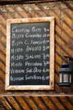 Ιταλικός κατάλογος επιλογής εστιατορίων Στοκ Φωτογραφία